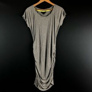 Attention Gray Ruched Midi Dress